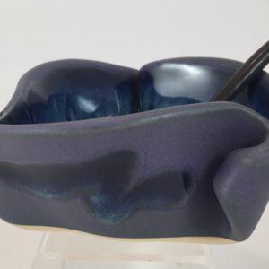 Hilborn Pottery Mustard Pot in blue and purple