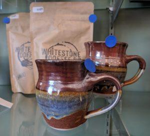 Sunset Canyon Pottery Mugs on Display